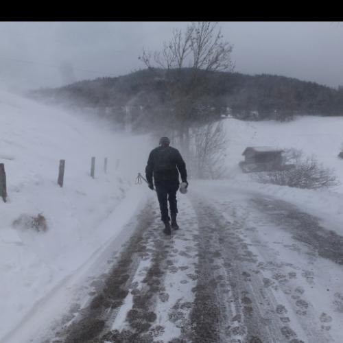 Wandelen in stuifsneeuw