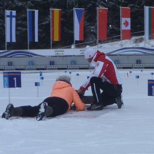 Anthollz, biathlon geweer schieten op de officiële wedstrijdbaan.