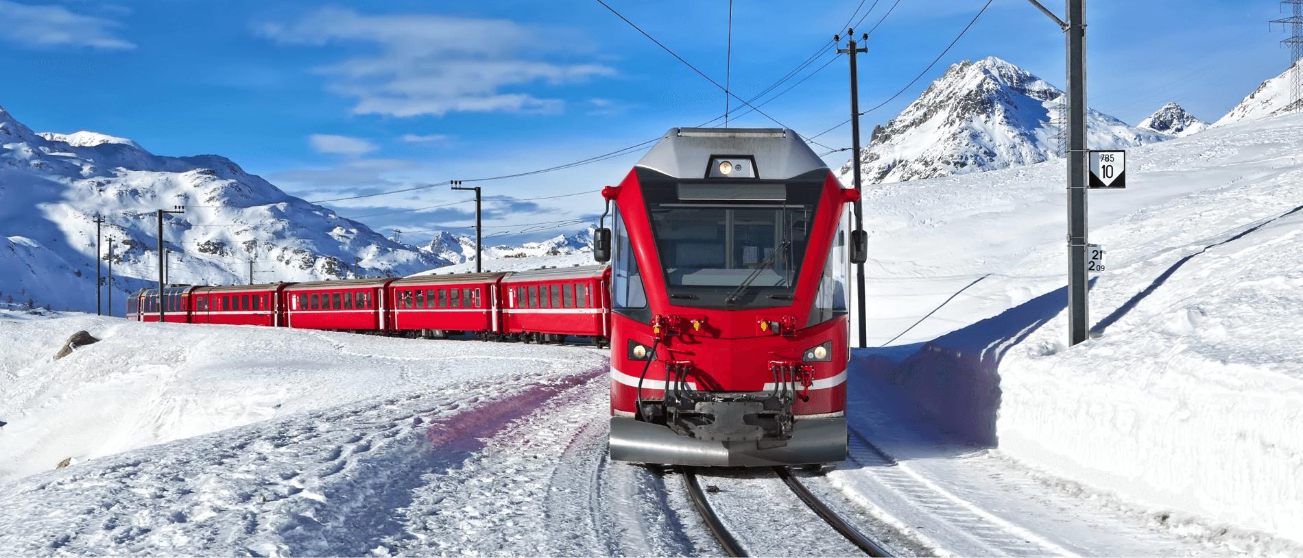 Wintervakantie met Berbina Express, Glacier Express in Zwitserland